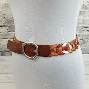 FOSSIL Size S Brown Red Gold Daisy Chain Belt